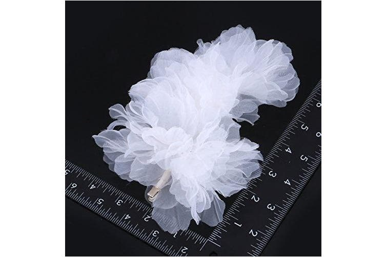 Bridal Wedding White Flowers Hair Clips - for Women Hair Clip Party Hair Accessory .
