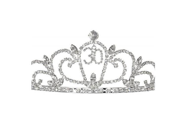 (30th Thirtieth Birthday) - SAMKY Rhinestone Crystal Birthday Tiara Crown 15/16/18/21/30/40/50/60/70/80th - 30th T1195