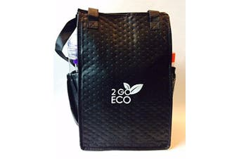 2goEco Black Eco-Friendly Lite 'n Tuff Tall Insulated Lunch Bag-Travel Cooler-Reusable Wine Tote
