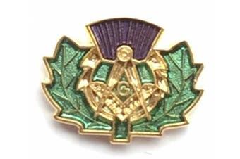 Masonic Scottish Thistle Crested Enamel Lapel Pin Badge (K078)