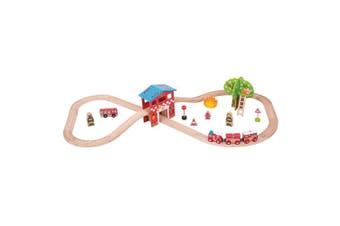 Bigjigs Rail Wooden Fire Station Train Set - 39 Play Pieces