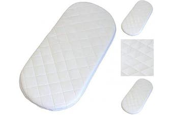 (80x40x3 cm) - 80X40X3 cm Moses Basket/PRAM Quilted All Sizes Oval Shaped Round Corners Soft MATTRESSES (80x40x3 cm)