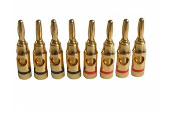 8 x 4mm Banana Plugs For Speaker Cable Connexions / Gold Plated (BY CABLES 4 ALL)