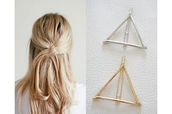 ANGELANGELA 2Pc Minimalist Dainty Gold Silver Hollow Triangle Geometric Metal Hairpin Hair Clip Clamps Accessories Barrettes Bobby Pin Ponytail Holder Statement Women's GIFT Headwear Styling Jewellery