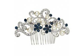 (Blue) - EVER FAITH® Silver-Tone Austrian Crystal Cream Simulated Pearl Floral Vine Bridal Hair Comb