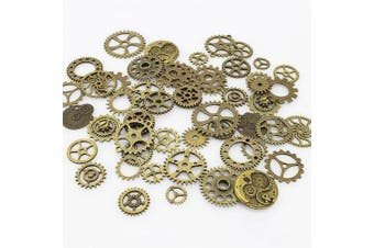 (Bronze) - Aokbean 150 Gramme Assorted Vintage Bronze Metal Steampunk Jewellery Making Charms Cog Watch Wheel for Crafting, Cosplay (Bronze)