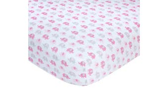 Carter's Sateen Crib Sheet, Pink Elephant Print, One Size