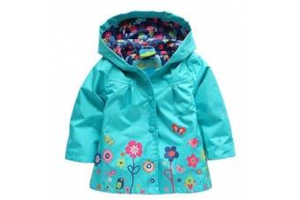 (6T, Blue) - Baby Kid Girl Waterproof Hooded Coat Jacket Outwear Raincoat Hoodies