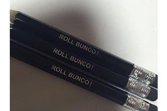 ROLL BUNCO! Black Pencils with Eracers - Set of 12 Pencils for Bunco Parties