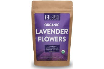 Organic Lavender Flowers (Extra Grade) - 120ml Resealable Bag - 100% Raw From France - by Feel Good Organics