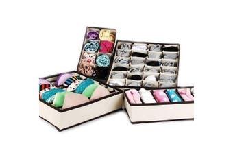 EchoAcc® 4pcs Different Sizes Multi-purpose Foldable Non-Woven Fabric Underwear Bras Socks Divider Storage Boxes Organisers (Beige)