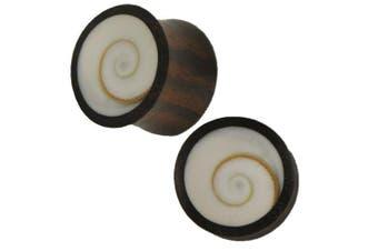 (14 mm) - Organic dark wood plug Shivaeye seashell white inlay Tribal