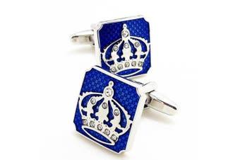 Covink Crown Cufflinks with a Presentation Gift Box Fashion Cufflinks Crown Valentines-day Cuff Buttons
