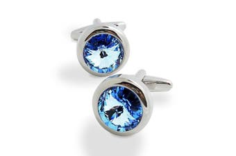 Covink. Crystal Cufflinks Blue and White Crystal Cuff Links with Gift Bag