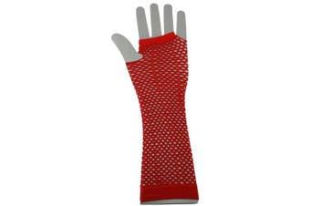 (Red) - Long Fishnet Neon Gloves 80's Fancy Dress