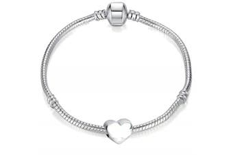 16cm Girls Starter Charm Bracelet with Silver Heart and Gift Box for Age 5-7 Years