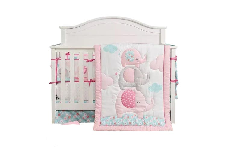 Piece Cot Bedding Set, Baby Girl Pink And Grey Cot Bedding