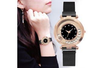 SIMPLE New Ladies Fashion Ball Drill Magnet Magnet Quartz Watch- Black