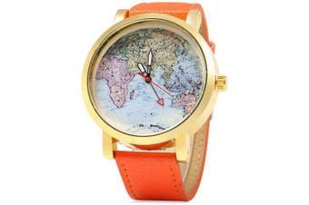 SIMPLE 1096 Map Decoration Ladies Quart Watch Leather Band- Orange