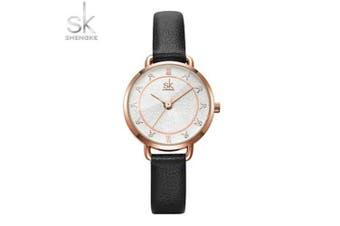 SIMPLE Sk K9001 Ladies Watch Quartz Watch with Diamonds SHENGKE Watch- Black
