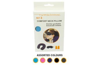 Safe Home Care Inflatable Neck Pillow Travel Pillows Eye Mask and Ear Plugs Set