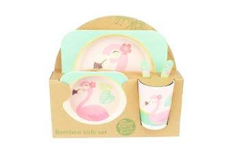 Bamboo Kids Feed Set - Tropical Flamingo