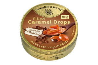 Cavendish and Harvey Caramel With Chocolate Drops 130g Tin Sweets Candy Lollies