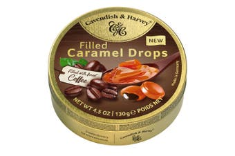 Cavendish and Harvey Caramel With Coffee Drops 130g Tin Sweets Candy Lollies