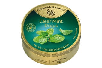 Cavendish and Harvey Clear Mint Drops 200g Tin Sweets C&H Candy Lollies
