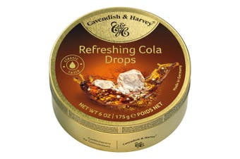 Cavendish and Harvey Refreshing Cola Drops 175g Tin Sweets C&H Candy Lollies