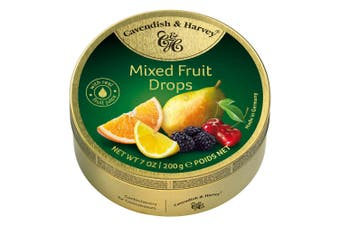 Cavendish and Harvey Mixed Fruit Drops 200g Tin Sweets C&H Candy Lollies