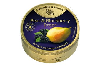 Cavendish and Harvey Pear & Blackberry Drops 200g Tin Sweets C&H Candy Lollies