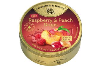 Cavendish and Harvey Raspberry & Peach Drops 200g Tin Sweets C&H Candy Lollies