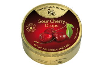 Cavendish and Harvey Sour Cherry Drops 200g Tin Sweets C&H Candy Lollies