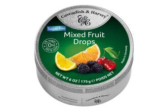Cavendish and Harvey Sugar Free Mixed Fruit Drops 175g Tin Sweets Candy Lollies