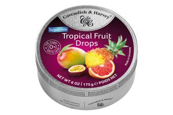 Cavendish and Harvey Tropical Fruit Drops 175g Tin Candy Lollies Sugar Free C&H