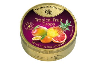 Cavendish and Harvey Tropical Fruit Drops 200g Tin Sweets C&H Candy Lollies