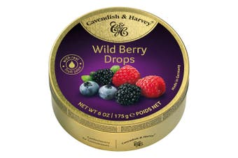 Cavendish and Harvey Wild Berry Drops 175g Tin Sweets C&H Candy Lollies