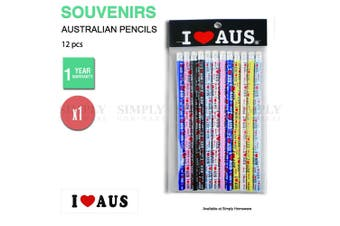 Australian Souvenirs 12pcs Set Pencils Stationary Kids Art Multi-coloured Aussie
