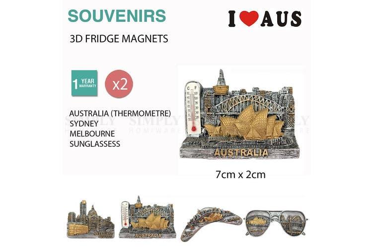 2x Australian Souvenirs Fridge Magnets Sydney Melbourne Thermometer Aussie Gift - Sydney - 2x