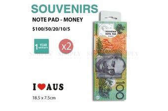 2x Australian Souvenirs Note Pad Money 50 Sheets Paper Stationary Aussie Gift AU
