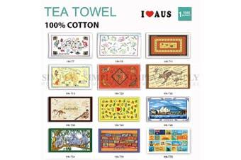 Australian Souvenir Tea Towels 100% Cotton Linen Weave Map Koala Aussie Gift AU - T7