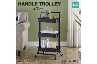 3 Tier Handle Wheel Trolley Bathroom Kitchen Storage Shelf Rolling Rack Cart AU