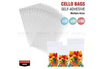 Clear Lolly Bags Self Seal Cello Plastic Adhesive Resealable OPP Cellophane Bulk - 500 Bags