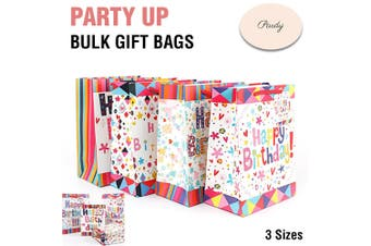 Gift Bags Happy Birthday Party Bulk With Handles Carry Lolly Paper Small Large - 96 Bags