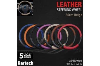 Car Steering Wheel Covers Leather Beige Audi Toyota Mazda Hilux Truck 36cm Beige