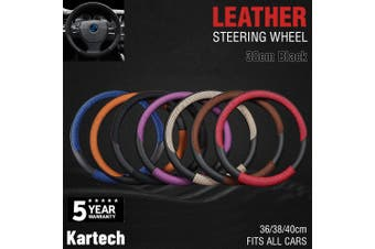 Car Steering Wheel Covers Leather Beige Audi Toyota Mazda Hilux Truck 38cm Black