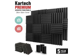 Sound Proofing Acoustic Panels Tiles Foam Studio Egg Shell Insulation Bass Traps - 50cm x 50cm x 5cm - Wedge / 20pcs