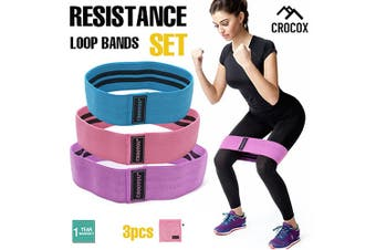 Yoga Resistance Loop Bands Adjustable Workout Exercise Fitness Gym Crossfit 3pcs - Set of 3 Sizes