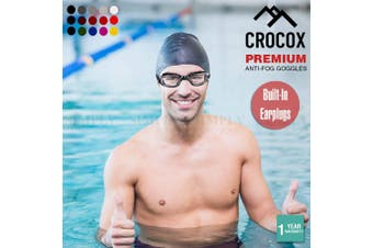 Crocox Swimming Goggles Anti Fog With Ear Plugs Adult Mens Womens Diving Strap